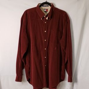 Tommy Hilfiger Burgundy Corduroy Button Down Shirt